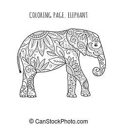 coloration, page, ton, conception, orné, éléphant