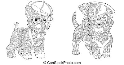 coloration, pages, purebred, chiens, mignon