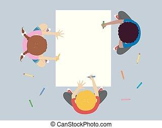 coloration, papier, grand, illustration, gosses