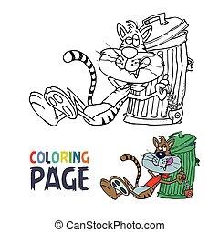 coloration, paresseux, chat, dessin animé, page