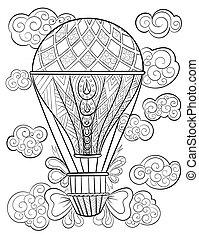 coloration, pattern., main, livre, adulte, encre, dessiné