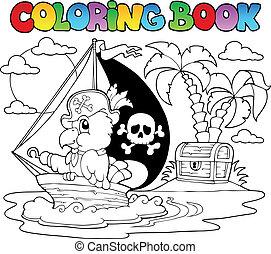 coloration, perroquet, thème, livre, 2, pirate