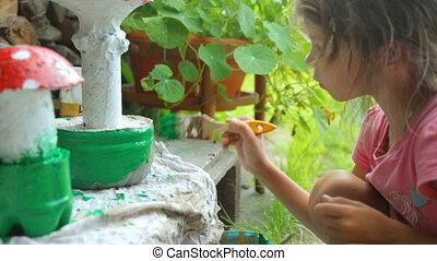 coloration, peu, décoration, jardin, girl