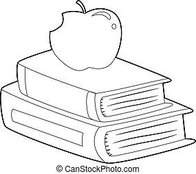 coloration, pomme, esquissé, livre, livres, sommet