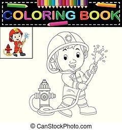 coloration, pompier, livre