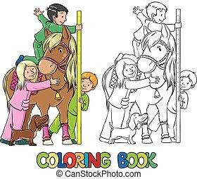 coloration, poney, livre, enfants