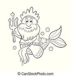 coloration, poseidon., horoscope, -, aquarius., signe, gosses, zodiaque, dessin animé