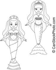 coloration, princesse, sirènes, papier, page, poupées