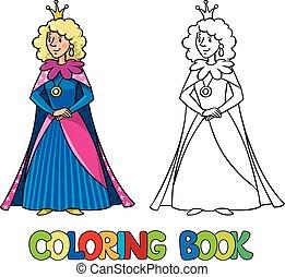 coloration, reine beauté, livre, princess., fée, ou
