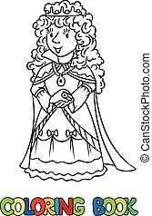 coloration, reine beauté, ou, livre, princesse féerique