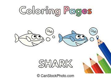 coloration, requin, livre, dessin animé