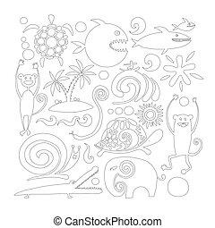 coloration, rigolote, page, ton, conception, animaux