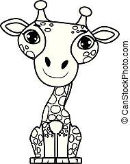 coloration, séance, esquissé, girafe, position, livre