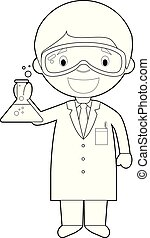 coloration, scientist., illustration, vecteur, facile, dessin animé