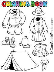 coloration, scout, livre, vêtements