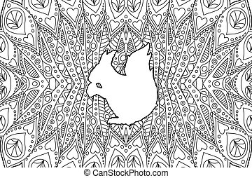 coloration, silhouette, écureuil, livre, page blanc