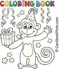 coloration, singe, 1, thème, livre, fête