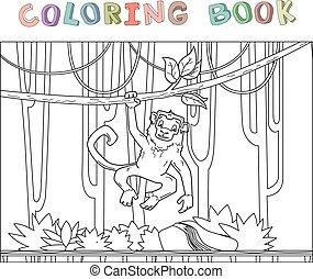 coloration, singe, character., vigne, illustration, style., contour, rainforest., vecteur, book., animal, pendre, dessin animé, jungle