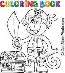 coloration, singe, image, pirate, 2, livre