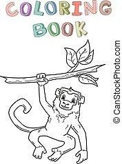 coloration, singe, isolated., character., illustration, style., contour, vecteur, book., animal, pendre, branch., dessin animé, jungle