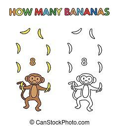 coloration, singe, livre, dénombrement, dessin animé, bananes
