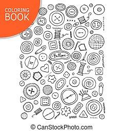 coloration, sketch., collection, ton, boutons, livre, page
