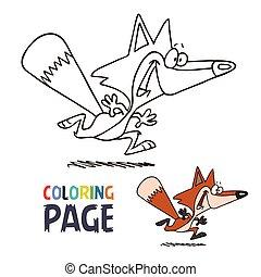 coloration, sourire, dessin animé, page, renard