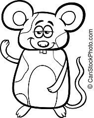 coloration, souris, dessin animé, page