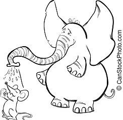 coloration, souris, livre, éléphant