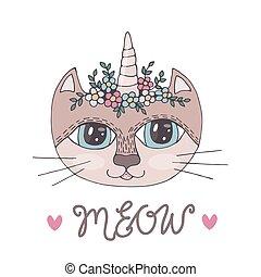coloration, tête, fleur, coloré, maïs, chat, livre, pages, dessin animé, ou