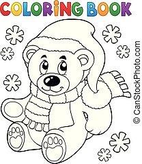 coloration, teddy, thème, ours, 3, livre