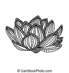 coloration, tension, fleur, magie, page, -, isolé, illustration, main, élevé, fond, anti, détails, zentangle, dessiné, blanc, lotus., style., adulte
