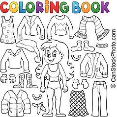 coloration, thème, 2, girl, livre, vêtements
