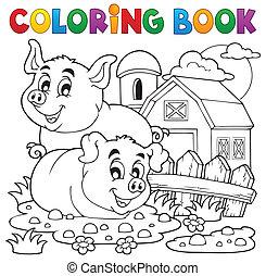 coloration, thème, 2, livre, cochon