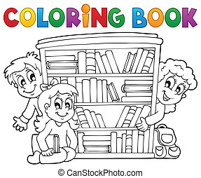 coloration, thème, 2, livre, pupille