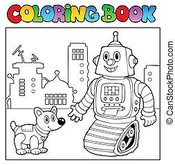 coloration, thème, 2, livre, robot