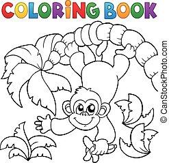 coloration, thème, 2, livre, singe
