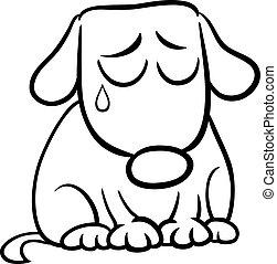 coloration, triste, dessin animé, page, chien