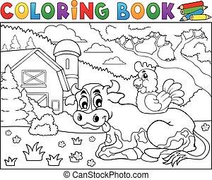 coloration, vache, ferme, thème, 3, livre