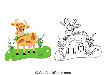 coloration, vache, illustration, vecteur, gosses, livre