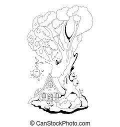 coloration, vecteur, book:, maison, fée, arbre., racines, conte, illustration, magie