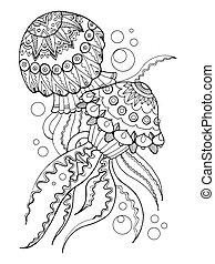 coloration, vecteur, livre, illustration, méduse