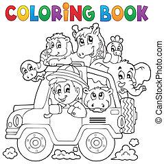 coloration, voiture, voyageur, thème, 2, livre