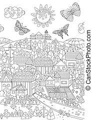 coloration, voler, ensoleillé, ton, papillons, cityscape, page