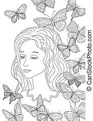coloration, voler, ton, papillons, girl, page, heureux