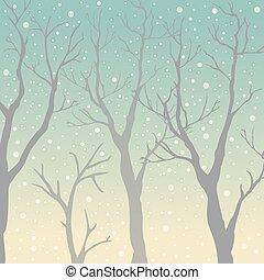 colorato, alberi., moderately, illustrazione, silhouette, vettore, alzavola, fondo, sottile, trasparente