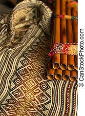 colorato, andino, flauto, pan, poncho., music., peruviano, concetto, tradizionale