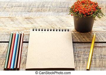 colorato, aperto, -, quaderno, posto lavoro, matite, vuoto, hobby, pittura
