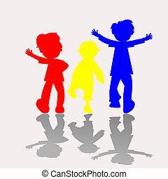 colorato, bambini, silhouette