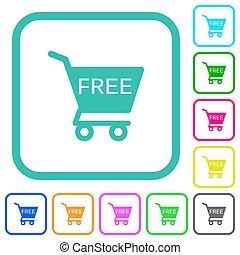 colorato, carrello, appartamento, libero, icone, shopping, ...